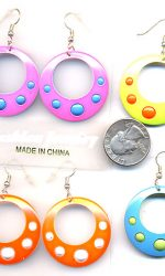 neon earrings with dots
