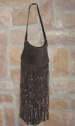 suede fringe purse dark brown
