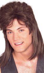 1980s mullet wig brown