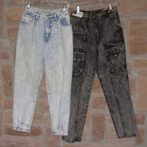 1980s acid washed jeans