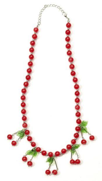 Retro style cherry necklace