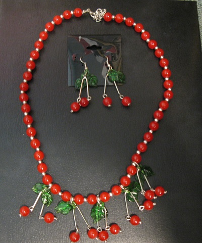 cherry necklace and earrings