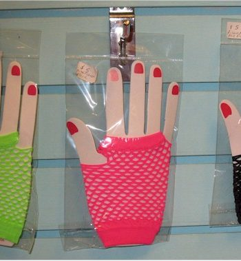 1980s neon fishnet fingerless gloves