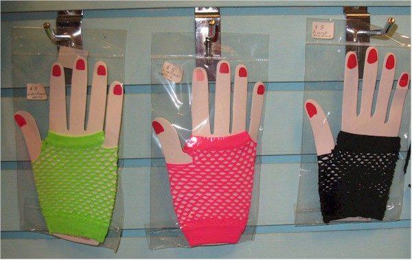 1980s neon fishnet fingerless gloves