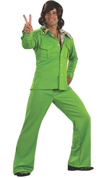 Green polyester leisure suit