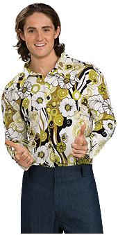 70s style green groovy shirt