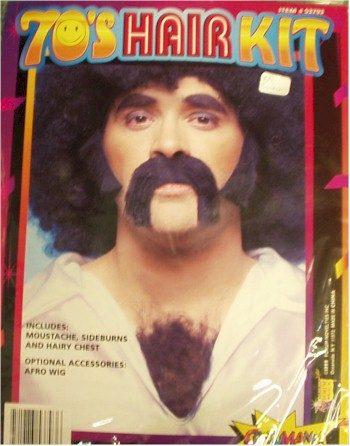1970s mustache sideburns chest hair kit