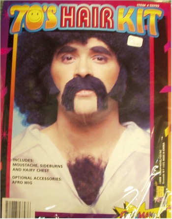 1970s mustache sideburns chest hair kit