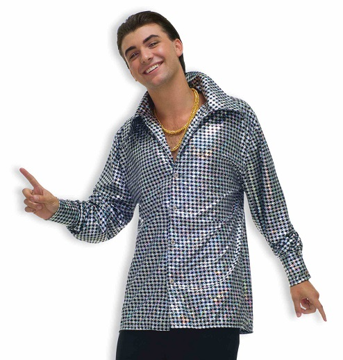 silver disco party shirt