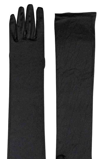 black satin long gloves