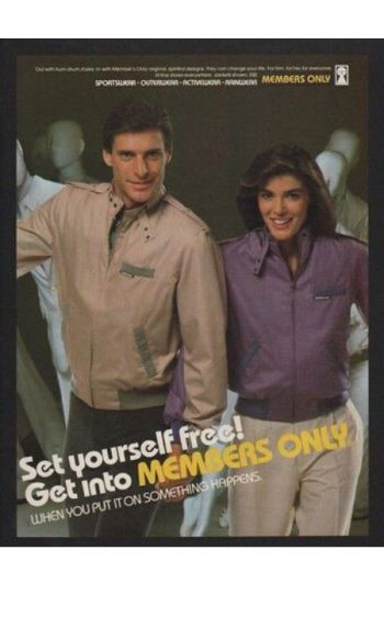 Members Only jackets 1980s vintage advertisement