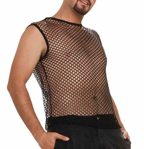 1980s mens mesh shirt
