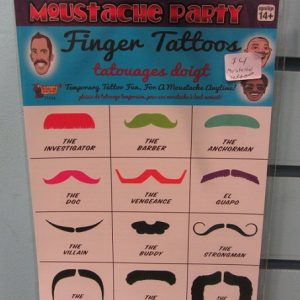 mustache party finger tattoos