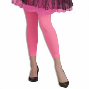 1980s neon footless tights pink