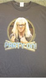 wayne's world party on Garth t-shirt