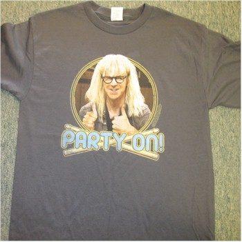 wayne's world party on Garth t-shirt