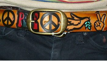 1960s peace sign leather belt