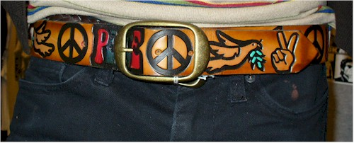 1960s peace sign leather belt