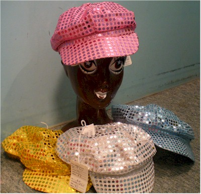 1970s disco sequin cap