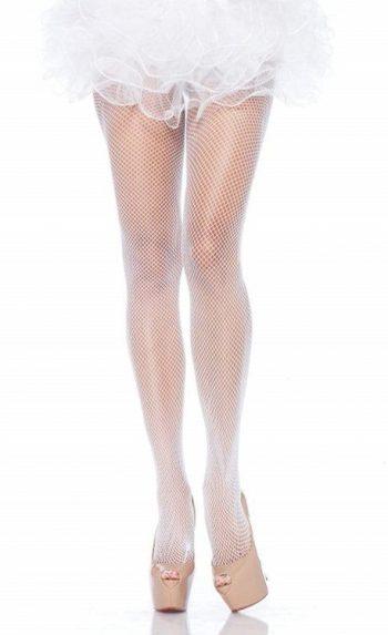 White fishnet pantyhose stockings