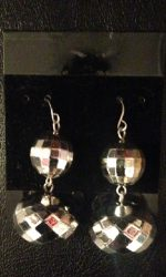 Double disco ball earrings