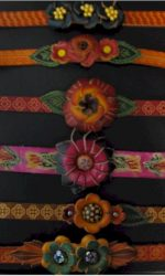 leather hippie flower bracelets