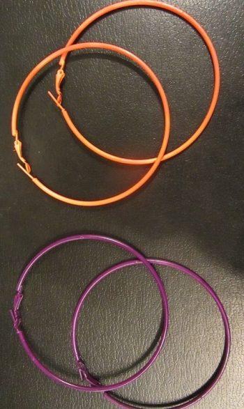 Extra large hoop earrings neon