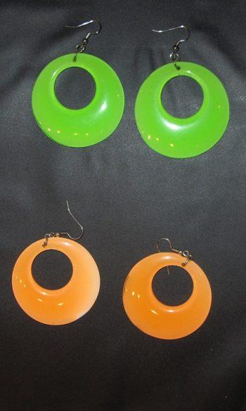 Green & orange mod earrings