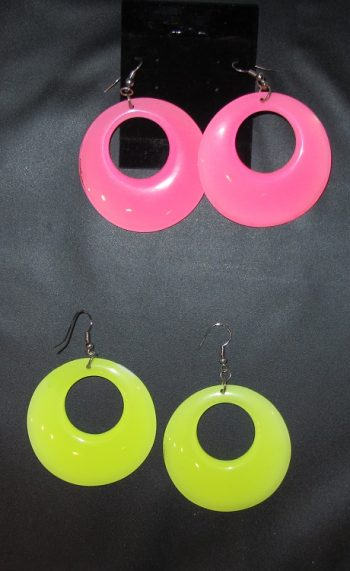 Pink and yellow mod earrings