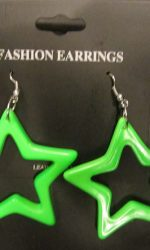 neon star earrings green