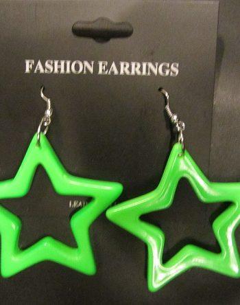 neon star earrings green