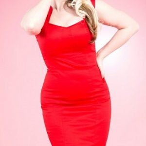 pin up sexy devil red pencil dress