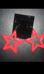 Neon star earrings pink 80's earrings
