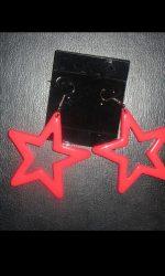 Neon star earrings pink 80's earrings