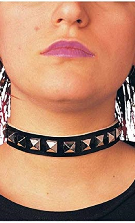 1980's studded choker necklace punk choker