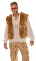 hippie mens faux fur vest