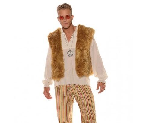 hippie mens faux fur vest