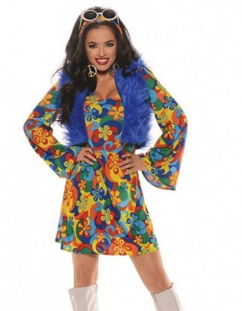 groovy blu mini dress with shaggy fur vest