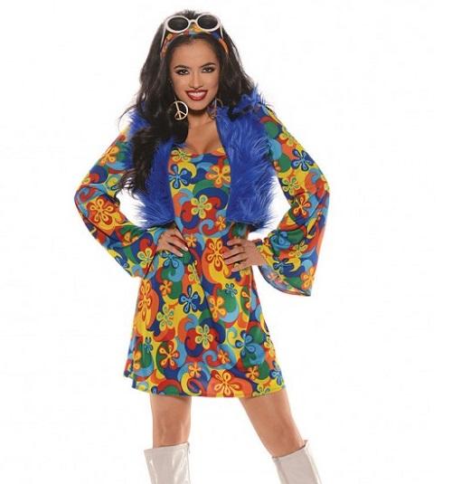 groovy blu mini dress with shaggy fur vest