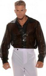disco sequin shirt black