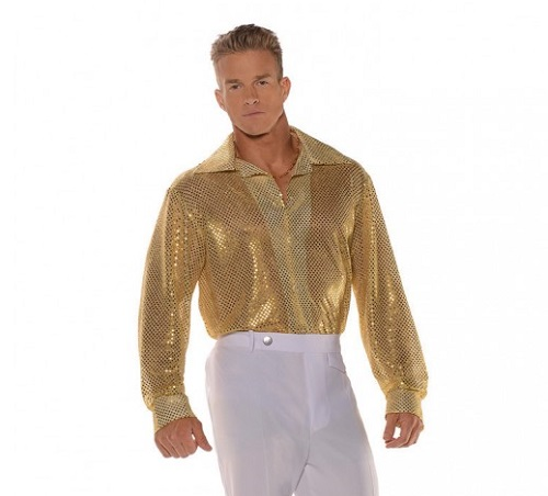 disco sequin shirt gold