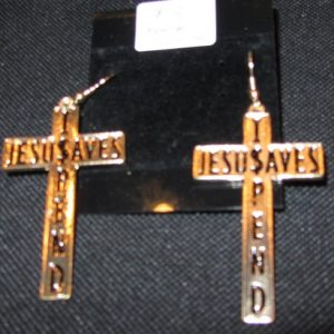 Jesus Saves I Spend cross earrings