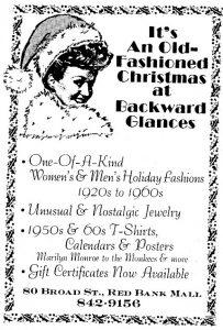 Backward Glances vintage clothing store 1985 advertisement