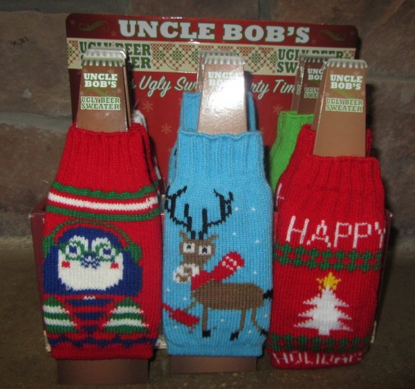 ugly Christmas sweater beer bottle koozie