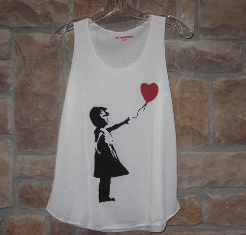 banksy heart balloon girl tank top