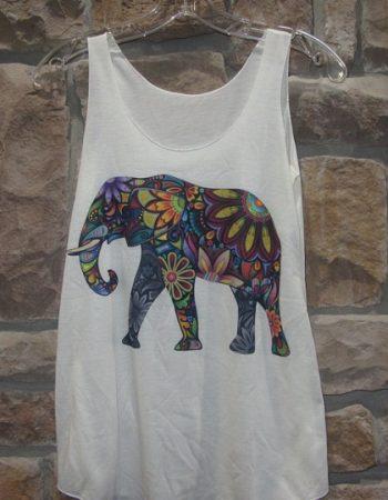 elephant graphic tank top