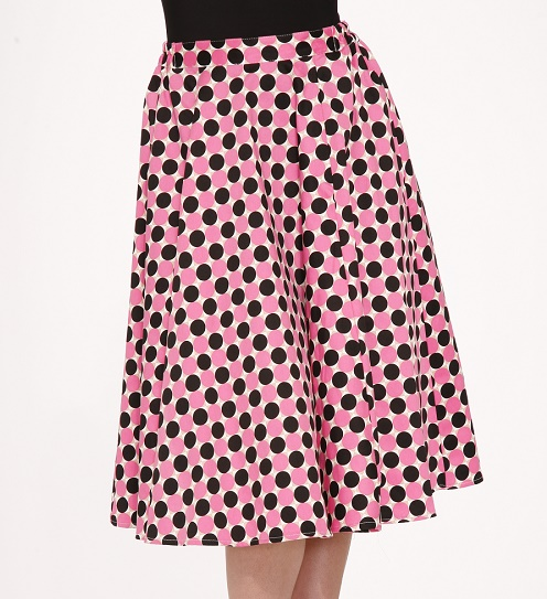 pink polka dot skirt strawberry shake skirt