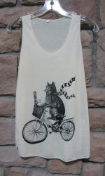 cat on bicycle shirt