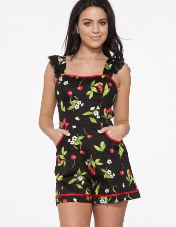 cherry pattern romper