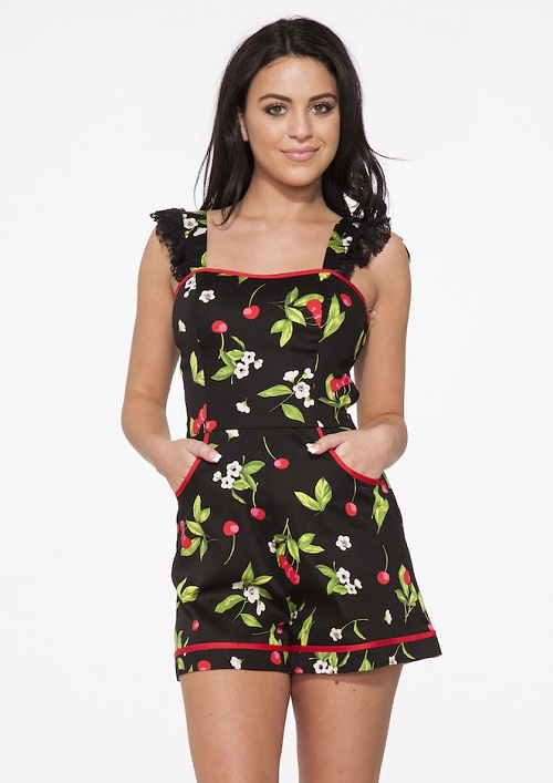 cherry pattern romper